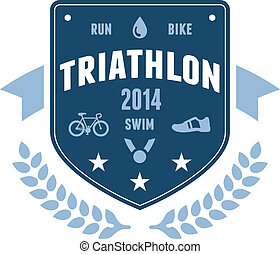 distintivo, triathlon, emblema, disegno