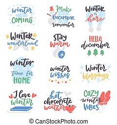 distintivo, wintertime, vettore, testo, logotipo, lettere, benvenuto, inverno, citare, ciao, frasi, motivazione