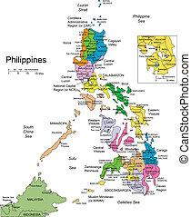 distretti, circondare, filippine, amministrativo, paesi