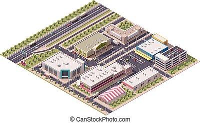 distretto, vettore, isometrico, shopping