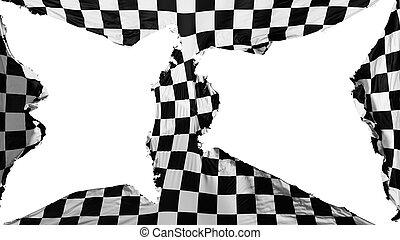 distrutto, bandiera, checkered