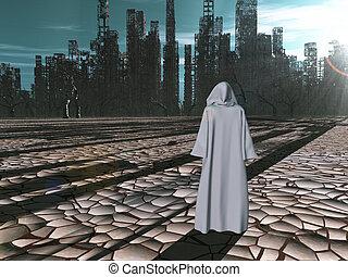 distrutto, viaggiatore, prima, città