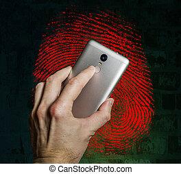 dito, smartphone, tocchi, scanner, impronta digitale