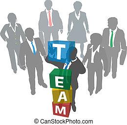 ditta, persone, costruire, squadra affari