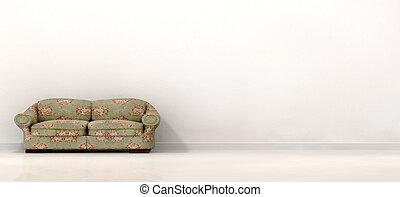 divano, bianco, vecchio, stanza, vuoto