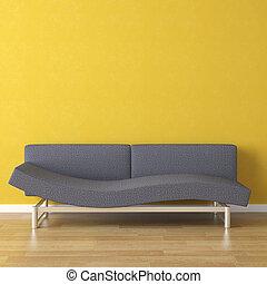 divano, blu, giallo, disegno, interno