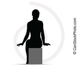 divano, donna, silhouette