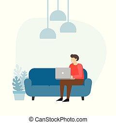 divano, laptop., home., lavoro, uomo, uomo affari