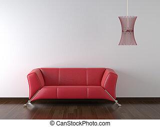 divano, parete, disegno, rosso, interno, bianco