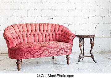 divano, rosso, divano