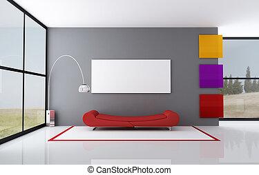 divano, rosso, moda