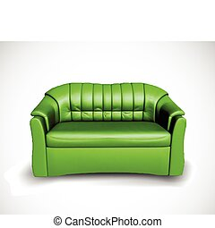 divano, vettore, verde