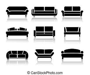 divano, vettore
