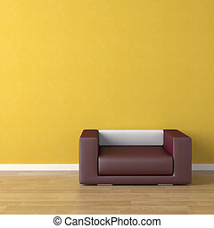 divano, viola, giallo, disegno, interno