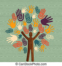 diversità, albero, mani umane