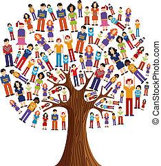 diversità, albero, pixel, umano