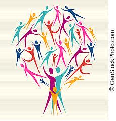 diversità, colori, set, albero, umano