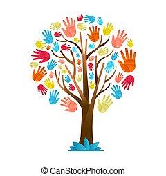diversità, colorito, albero, mano, culturale, squadra