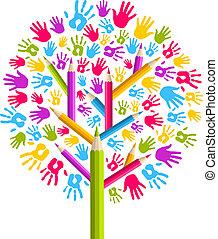 diversità, educazione, albero, mani