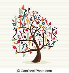 diversità, foglie, set, albero, umano