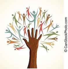 diversità, set, albero, mano umana