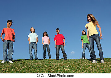 diverso, gruppo, bambini
