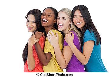 diverso, ridere, macchina fotografica, donne, abbracciare, giovane