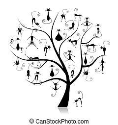 divertente, 27, albero genealogico, silhouette, gatti, nero