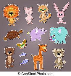 divertente, animali, collezione
