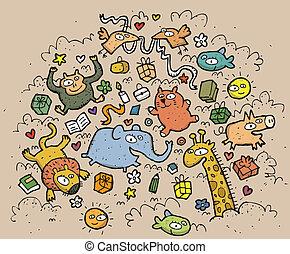 divertente, animali, illustration., disegnato, objects:, mano, vettore, illustrazione, mode!, eps10, composizione