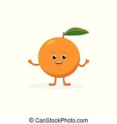 divertente, appartamento, sano, carattere, isolato, illustrazione, fondo., frutta, vettore, cibo, arancia, bianco, mascotte, cartone animato, design.