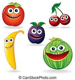 divertente, b, frutte