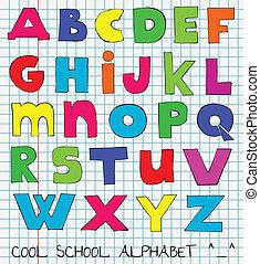 divertente, bambini, colorito, alfabeto