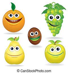 divertente, c, frutte