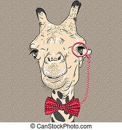 divertente, cammello, vettore, closeup, ritratto, hipster