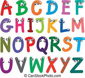 divertente, capitale, lettere, alfabeto