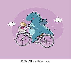 divertente, carino, cat., bicycle., dinosauro, viaggiatore, ragazza, drago, cartone animato
