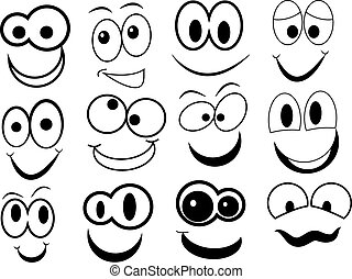 divertente, cartone animato, faccia