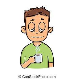 divertente, coffee., tazza, sonnolento, isolato, appartamento, mattina, fondo., vettore, disegno, tipo, bianco, icon., cartone animato, illustration.
