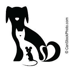 divertente, composizione, topo, cane, gatto