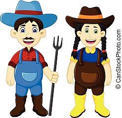 divertente, coppia, rastrello, presa a terra, contadino, cartone animato