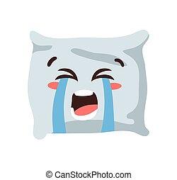 divertente, cuscino, disegnato, elemento, facciale, mano, emoji., carattere, in pausa, illustration., cartone animato, vettore, emoticon., espressione