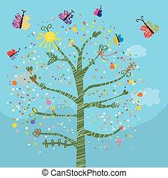 divertente, farfalle, bambini, albero, scheda
