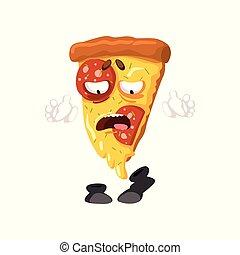 divertente, fetta, cibo, carattere, digiuno, vettore, illustrazione, fondo, bianco, cartone animato, pizza