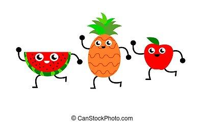 divertente, fetta, mela, ballo, illustrazione, ananas, anguria
