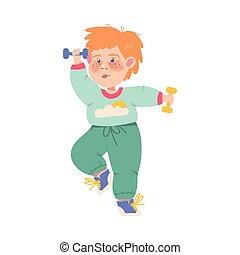 divertente, freckled, dumbbells, vettore, illustrazione, esercizio, fisico, ragazzo, atleta