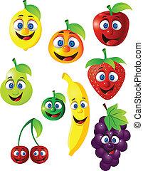 divertente, frutta, carattere, cartone animato