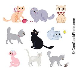 divertente, gatti, set, carino