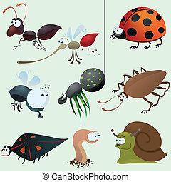 divertente, insetto, set