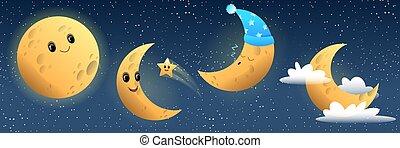 divertente, luna, in pausa, sorridente, collezione